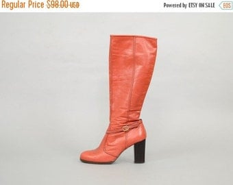 ANNIVERSARY SALE 70's ITALIAN Tall Leather Boots Us 8.5