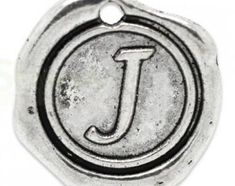 "Add On Initial ""J"" Charm, personalized letter charm, monogram, Personalized Keychain, Personalized Necklace, antiqued silver plated charm"