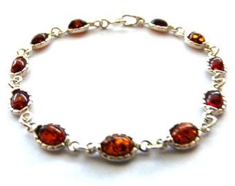 Baltic Amber Silver Bracelet Cognac 7.7″ 925 Silver