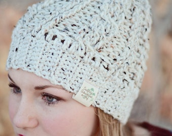 Cable Stitch Beanie in Oatmeal Tweed with faux fur Pom Pom in Mink - crochet Hat, Tween - Teen - Adult One size fits most