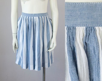 "70s Vintage DIOR Blue and White Striped Pleated High Rise Shorts. Skort (S; 26"" Waist)"