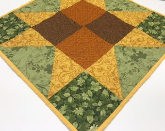 Quilted Fall/Autumn Table Runner, Table Mat, Machine Quilted, Gold Brown Green, Quilted Table Runner, Home Decor