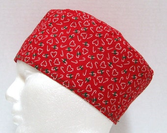 Christmas Scrub Hat or Surgical Cap Red with Candy Canes