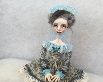 Art doll Malvina OOAK doll Collecting doll Human figure doll Art clay doll Clay doll Air dry clay doll