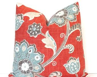 Red and Spa Blue Jacobean Decorative Designer Pillow Cover accent cushion scarlet brick crimson robins egg teal aqua gray ikat boho floral