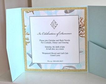 Beach Foil Wedding invitation, Pocketfold invitation, nautical invitation, beach invitation, custom invitation, cape cod invitation