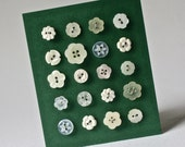 Vintage White and Mother of Pearl Buttons with a Flower Design for Sewing and Crafts