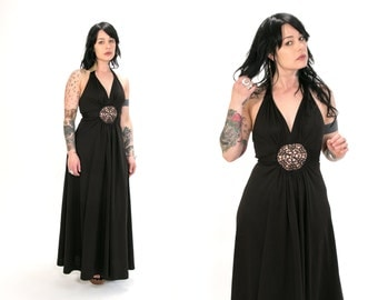 Vintage 1970's Black Halter Dress with Cut Out Lace Spider Web Style Circle Women's Size Medium Retro Bohemian Hippie Vtg Vg