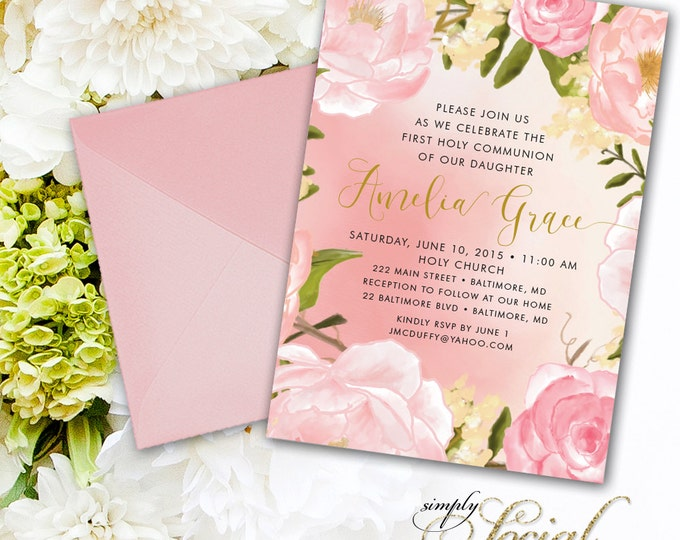 Floral First Holy Communion Invitation - Peony Calligraphy Personalized Custom Flowers Pink Botanical Printable Party Invite