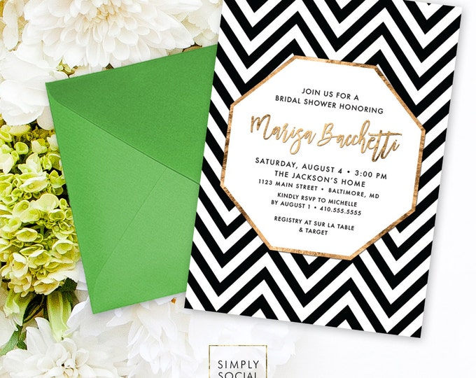 Chevron Bridal Shower Invitation - Faux Gold Foil Classy Black and White Chevron Modern Calligraphy Typography Invite Printable