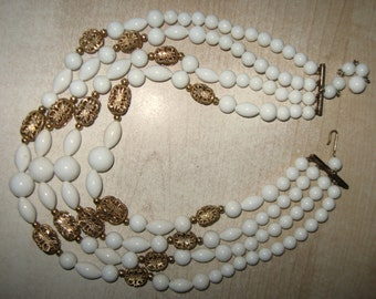 Vintage 1960s White and Gold Filigree Bead Four Strand Necklace