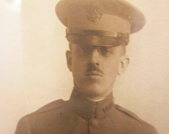 "WWI Doughboy in Pince Nez Glasses Signed ""Your Bill"" - Photo Framed by H P Whitmore Fine Art of Omaha - Hauck Studio Soldier Portrait"