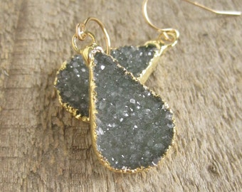 Druzy Earrings Druzy Quartz Teardrops 14K Gold Fill