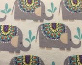 Elephants - Flannel Fabric - BTY