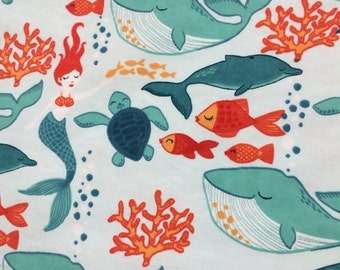 Mermaids and Whales - Cotton FLANNEL Fabric - 29 inches