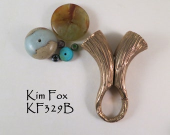 Magnetic Clasp/Cone/Bail Combination by Kim Fox in Golden Bronze with Bark Texture