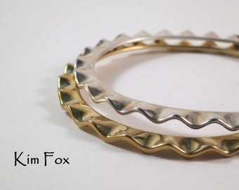 9 inch Wave Bangle in Silver and Bronze in oval shape for comfort