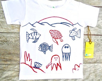 Children - Ocean Fish - Red White and Blue  - Toddler T-Shirt or Baby Onesie