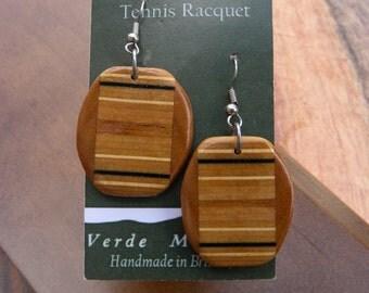 Wood earrings made from a Davis Professional Tennis Racquet