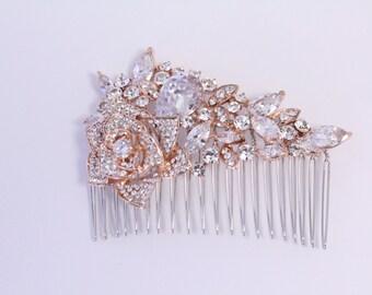 Bridal hair comb rose gold Hair comb Rhinestone Wedding hair comb rose gold Wedding comb Bridal hair accessories Wedding hair jewellery comb