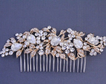 Bridal hair comb gold Wedding hair comb pearl hair comb gold Wedding comb Bridal hair accessories Wedding head piece Bridal hair piece Pearl