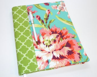 Composition Notebook / Journal Cover - Love Bliss Bouquet Teal