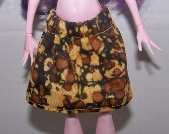 Handmade Monster High doll clothes - brown monochromatic skirt
