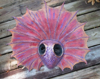 one of a kind mask, hand Sculpted, paper mache, Frill Lizard mask, OOAK, Halloween mask, Masquerade mask, Costume Mask