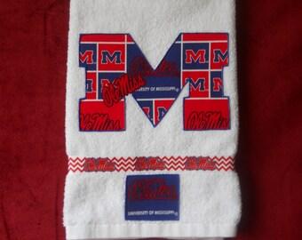 Ole Miss Rebels-Univ of Mississippi Hand Towel Bathroom, Kitchen, Grad Gift, Grill