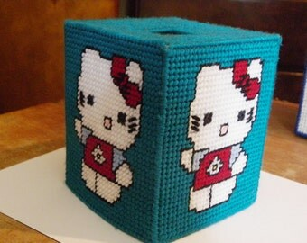 Plastic Canvas Kitty Tissue Box Cover  450