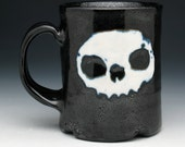 Skull Coffee Mug, Black & White Double Skulls Mug
