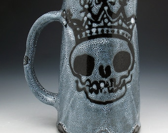 Skull King Beer Stein, Spotted Double Skulls Beer Mug