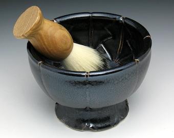 Pedestal Shaving Bowl, Metallic Bronze Modern Man Pedestal Lathering Bowl