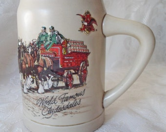 Vintage 1987 Budweiser Stein 'World Famous Clydesdales' 1st in Series