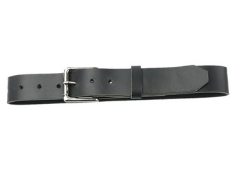 Leather Belt - Roller Buckle - Black - Made in the U.S.A. - BL-BLT-RLNP