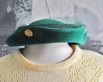 Hunter Green Vintage Felt Hat; Edgar A. Stevens 1940s Small Hat