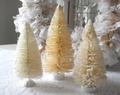 bottle brush trees christmas decorations flocked trees shades of cream shabby chic french country holiday adornments SET OF 3