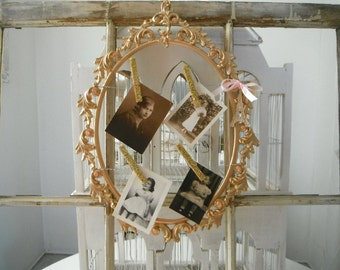 photo frame picture frame shabby chic notice board open frame metallic gold card holder bedroom decor -gift for her