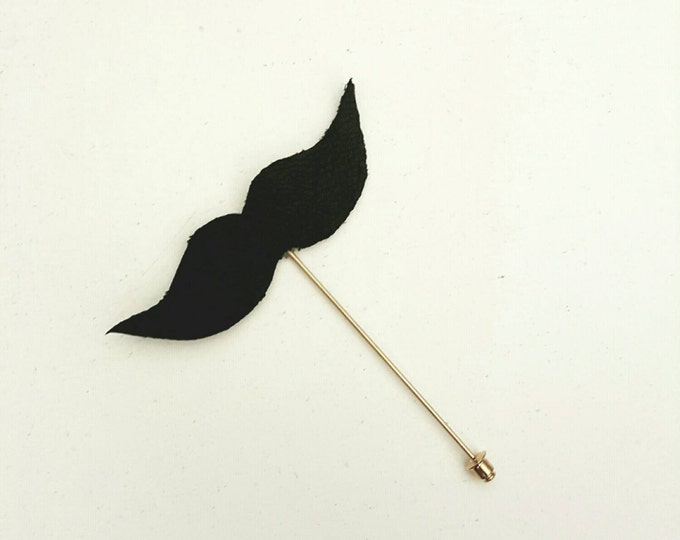 Mustache Leather Bow Lapel Pin -limited Quantities!
