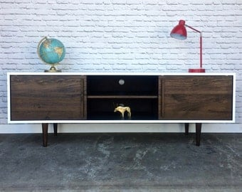 Kasse Credenza / Media Console - White/Dark Walnut Combo