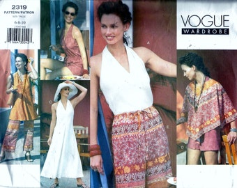 Vogue 2319 Halter Top Dress Beach Cover Up Poncho Shorts and Pants Wardrobe Sewing Pattern Size 6, 8 and 10 UNCUT