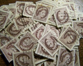 Brown Stamps - Lot of 100 Postage Stamps Featuring Queen Elizabeth II, 1954, Canada