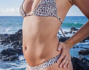INDIE ATTIRE - String Bikini Top - Cream with Brown Leopard Print