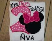 Minnie Mouse Girls Im TWOdles in Pink/White,  Red/White or Purple/White T shirt or Bodysuit with Free Personalization