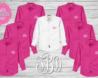 FREE Button Up Set of 7 or MORE Monogrammed Button Ups, Hot Pink Button Up, Oxford Shirt, Button Up Shirt, Brides Shirt, Boyfriend Shirt