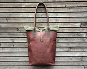 Leather tote bag / shoulderbag made from oiled leather with roll to close top in waxed canvas