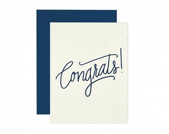 A2 Congratulations Script Greeting Card, hand illustrated, kraft and navy