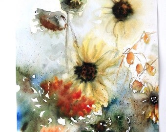 Rustic Fall - Sunflowers - Fall Colors - Watercolor Original Painting  - Fall in Love with Fall