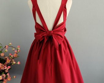 Party V Backless Dress Prom Party Dresses Blood Red Cocktail Dress Red Backless Dress Red Wedding Bridesmaid Dresses Burgundy Dress XS-XL