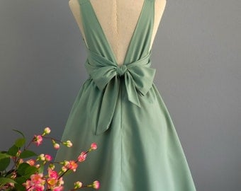 Sage green dress sage party dress green prom dress green cocktail dress bow back dress green bridesmaid dresses green backless dress